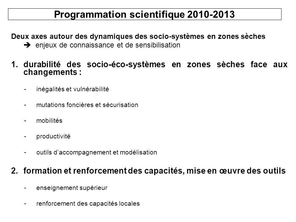 Programmation scientifique 2010-2013