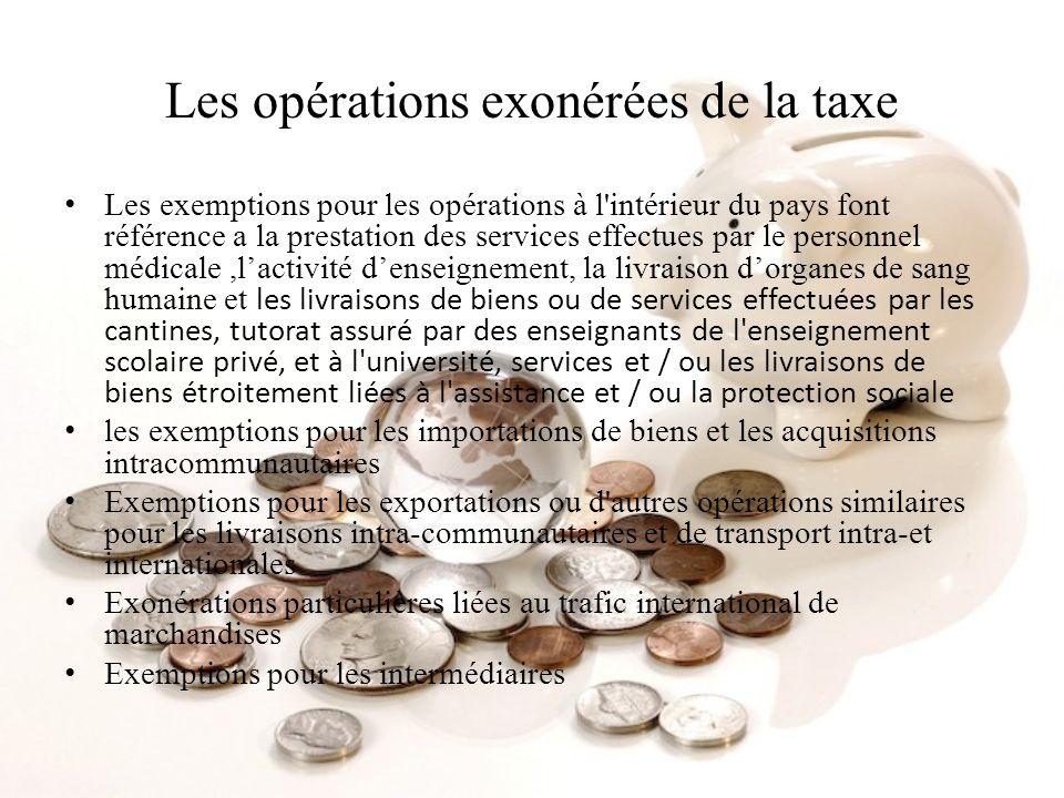 Les opérations exonérées de la taxe
