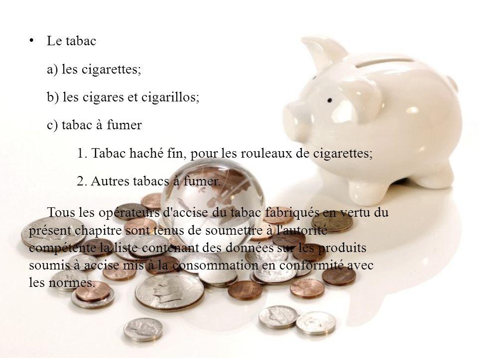 Le tabac a) les cigarettes; b) les cigares et cigarillos; c) tabac à fumer 1. Tabac haché fin, pour les rouleaux de cigarettes; 2. Autres tabacs à fumer.
