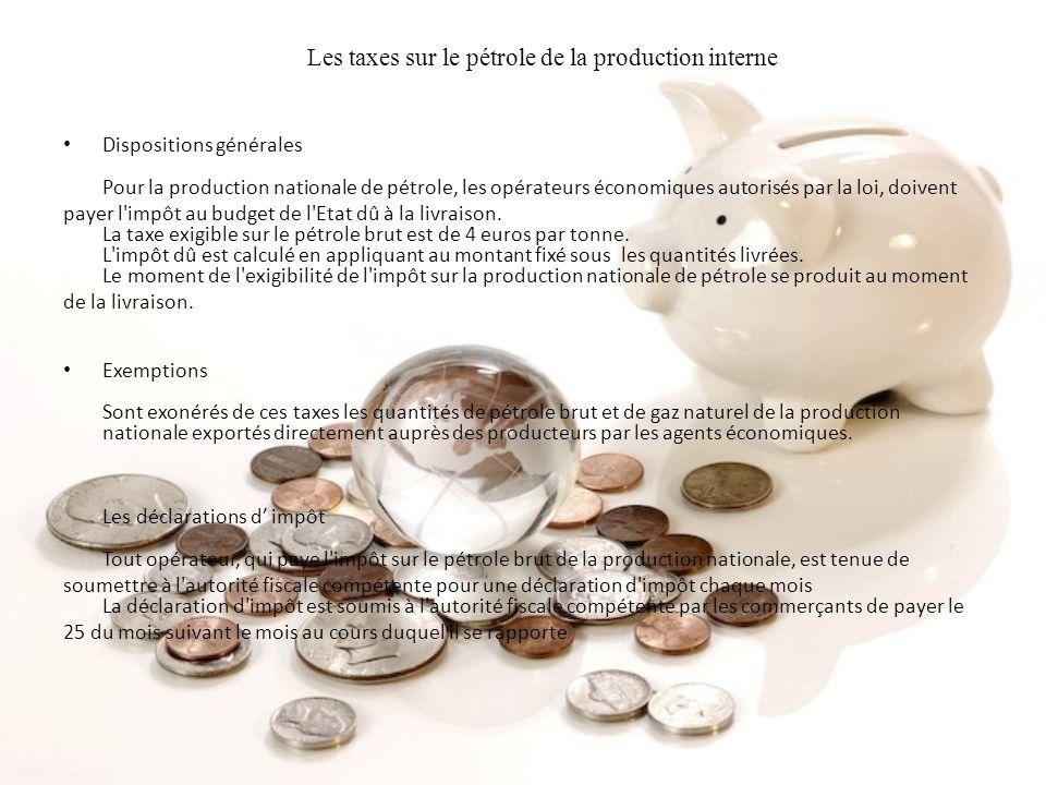 Les taxes sur le pétrole de la production interne