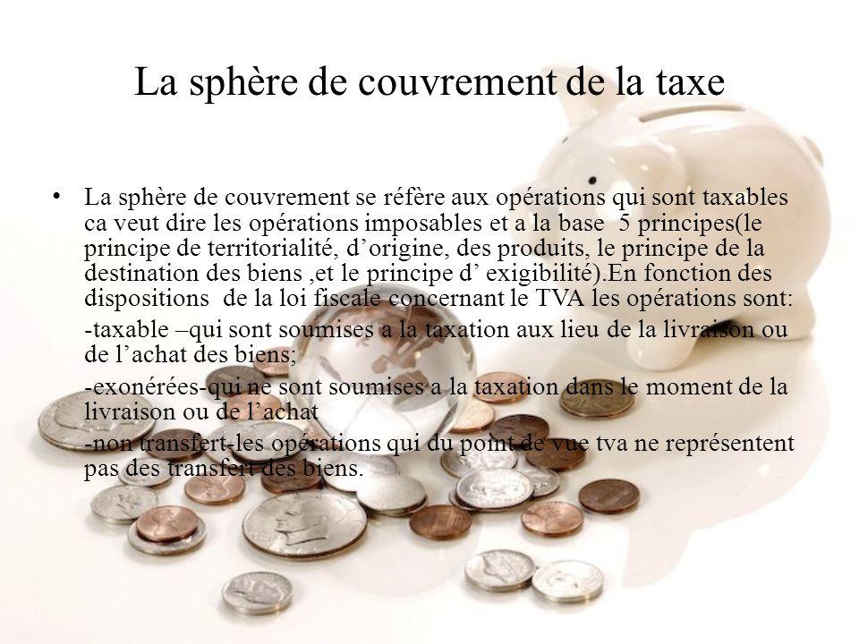 La sphère de couvrement de la taxe