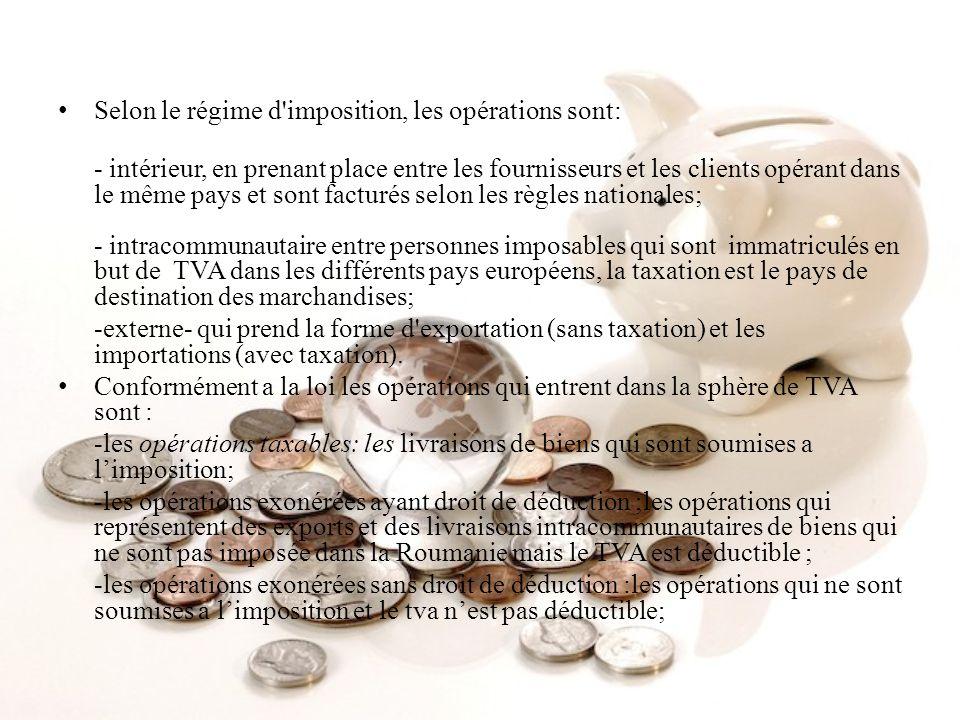 Selon le régime d imposition, les opérations sont: