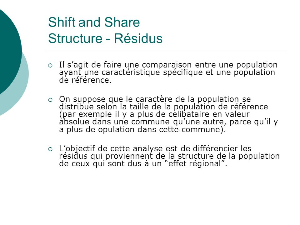 Shift and Share Structure - Résidus