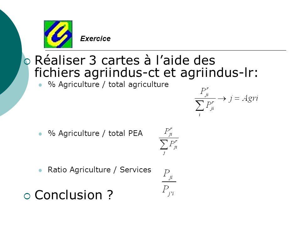Réaliser 3 cartes à l'aide des fichiers agriindus-ct et agriindus-lr: