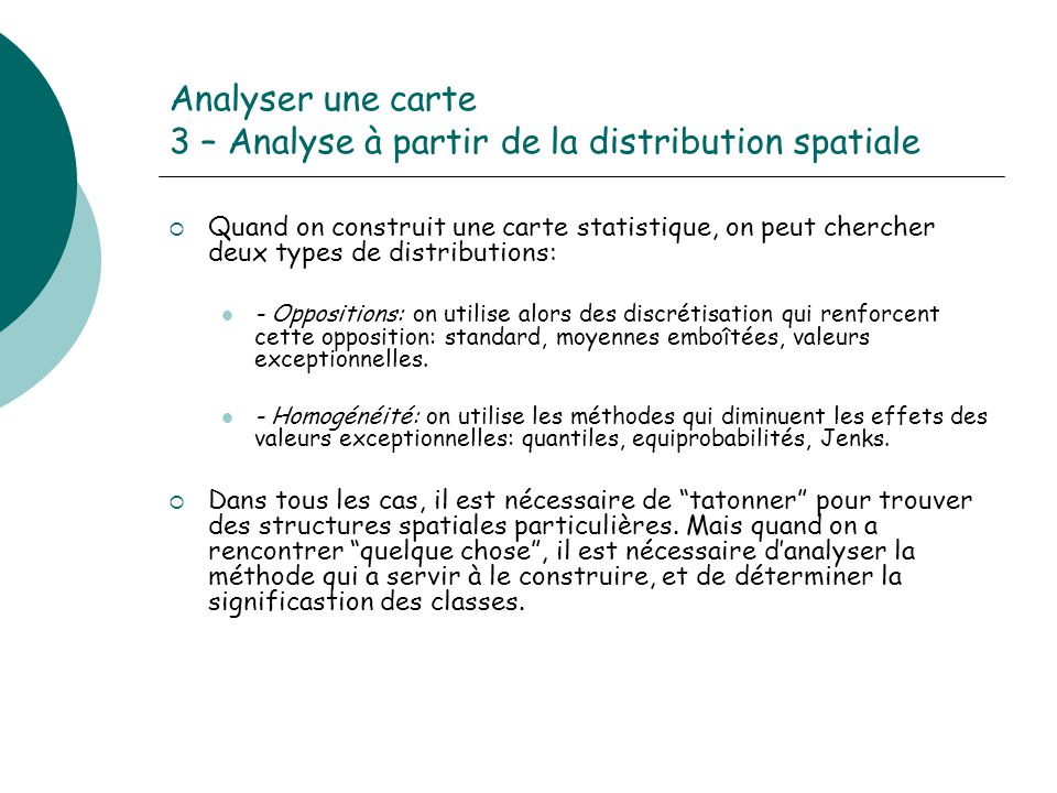 Analyser une carte 3 – Analyse à partir de la distribution spatiale
