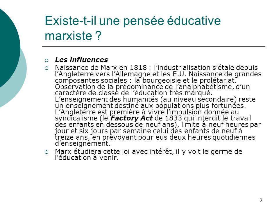 Existe-t-il une pensée éducative marxiste