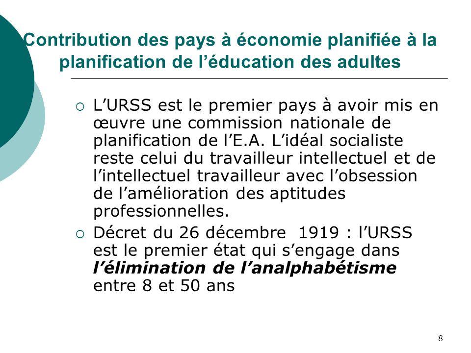 Contribution des pays à économie planifiée à la planification de l'éducation des adultes