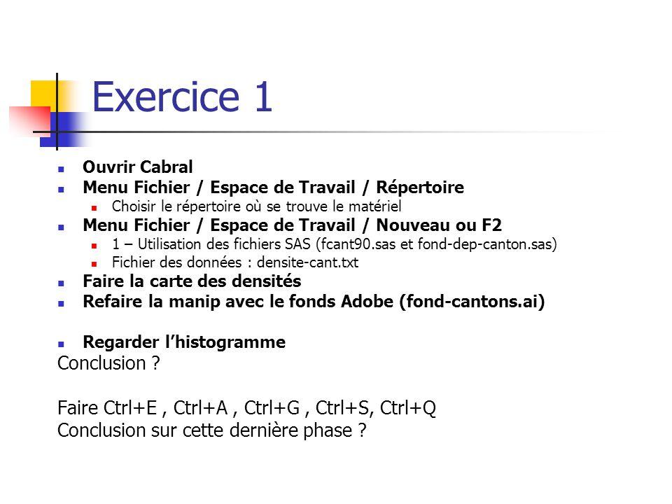 Exercice 1 Ouvrir Cabral. Menu Fichier / Espace de Travail / Répertoire. Choisir le répertoire où se trouve le matériel.