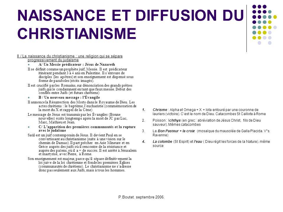 NAISSANCE ET DIFFUSION DU CHRISTIANISME