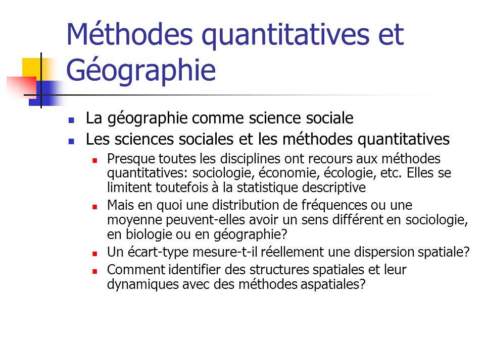 Méthodes quantitatives et Géographie