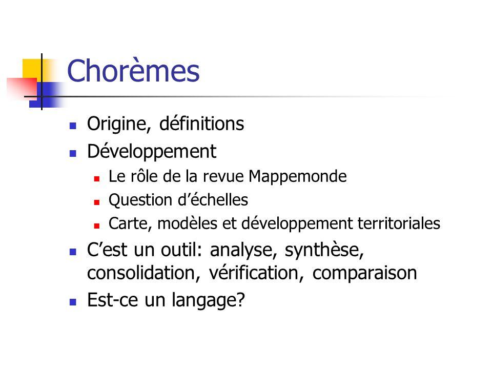 Chorèmes Origine, définitions Développement