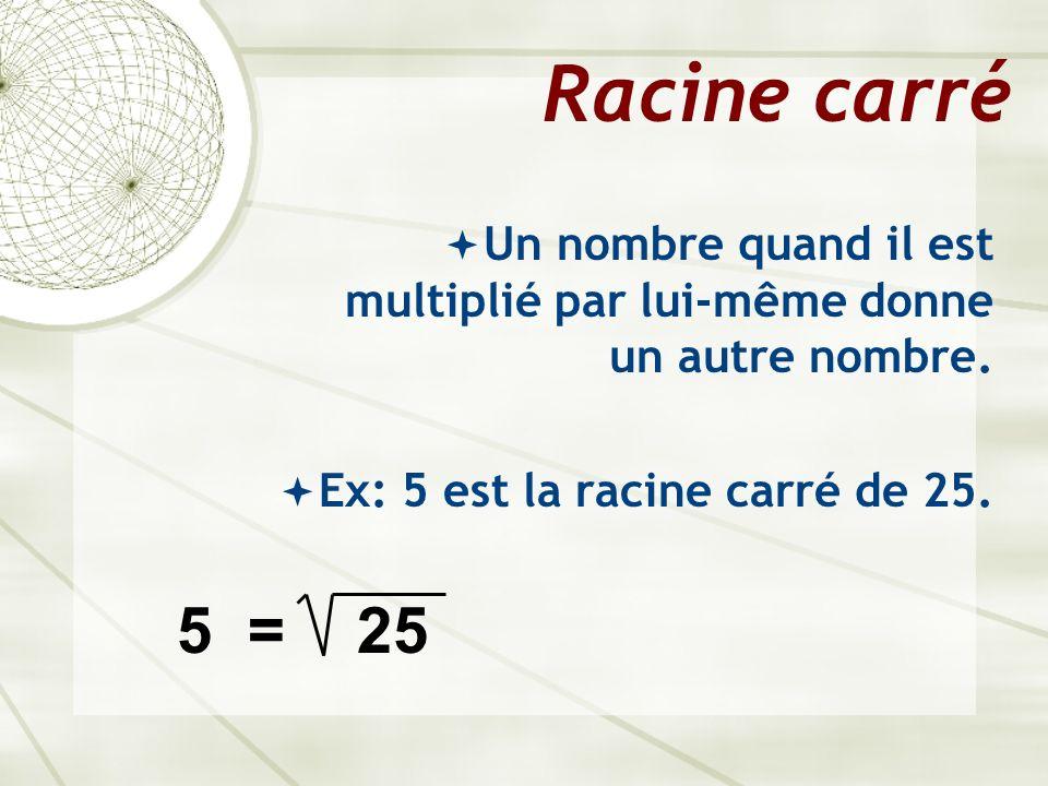 Racine carré Un nombre quand il est multiplié par lui-même donne un autre nombre. Ex: 5 est la racine carré de 25.