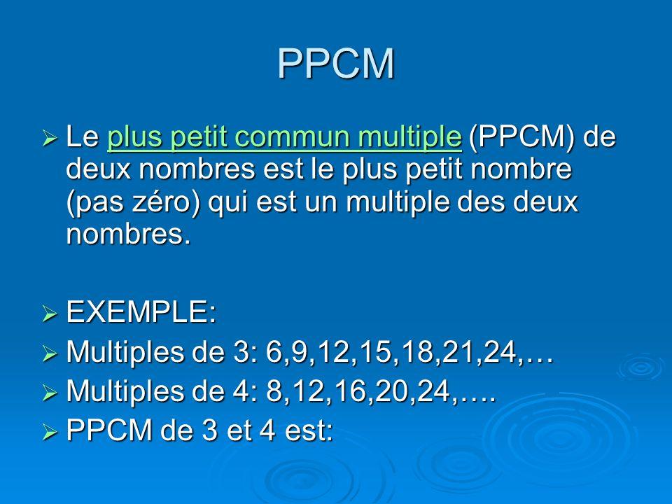 PPCMLe plus petit commun multiple (PPCM) de deux nombres est le plus petit nombre (pas zéro) qui est un multiple des deux nombres.