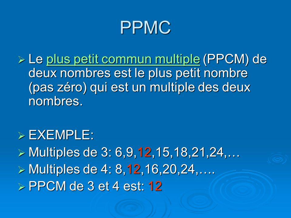 PPMCLe plus petit commun multiple (PPCM) de deux nombres est le plus petit nombre (pas zéro) qui est un multiple des deux nombres.