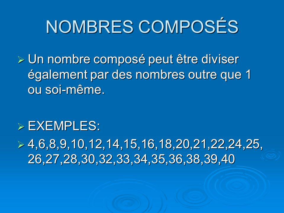 NOMBRES COMPOSÉSUn nombre composé peut être diviser également par des nombres outre que 1 ou soi-même.