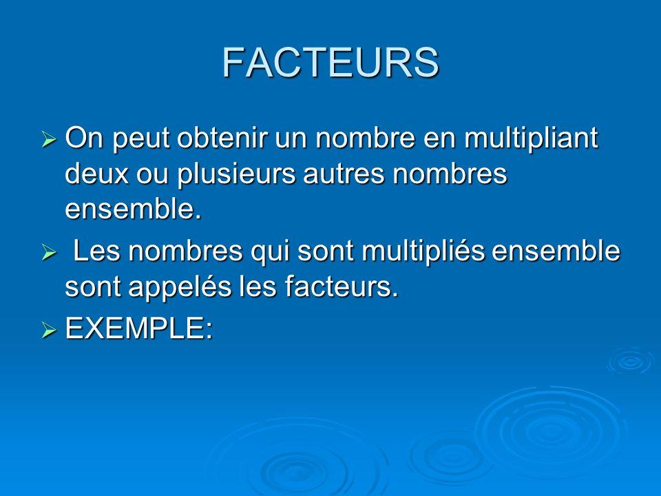FACTEURS On peut obtenir un nombre en multipliant deux ou plusieurs autres nombres ensemble.