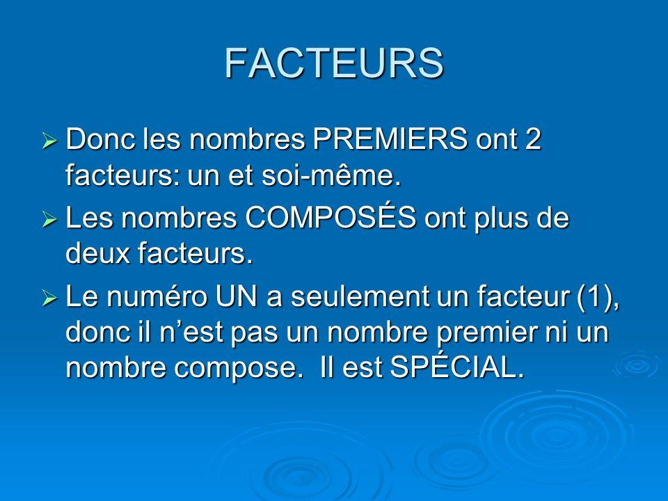 FACTEURS Donc les nombres PREMIERS ont 2 facteurs: un et soi-même.