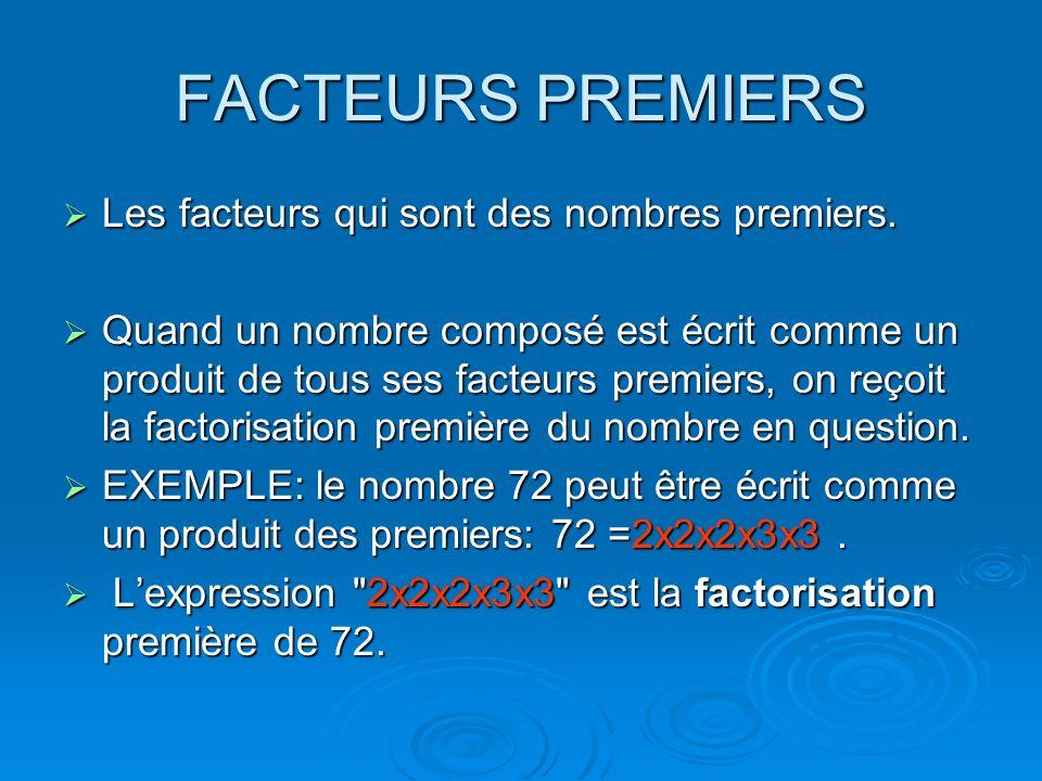 FACTEURS PREMIERS Les facteurs qui sont des nombres premiers.