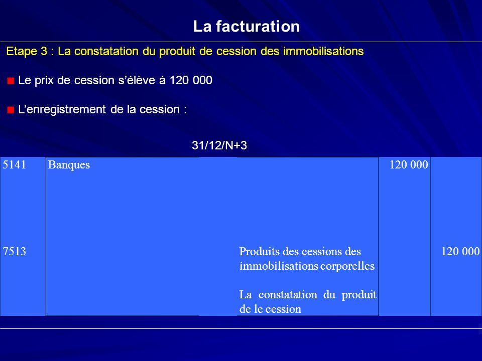 La facturation Etape 3 : La constatation du produit de cession des immobilisations. Le prix de cession s'élève à 120 000.