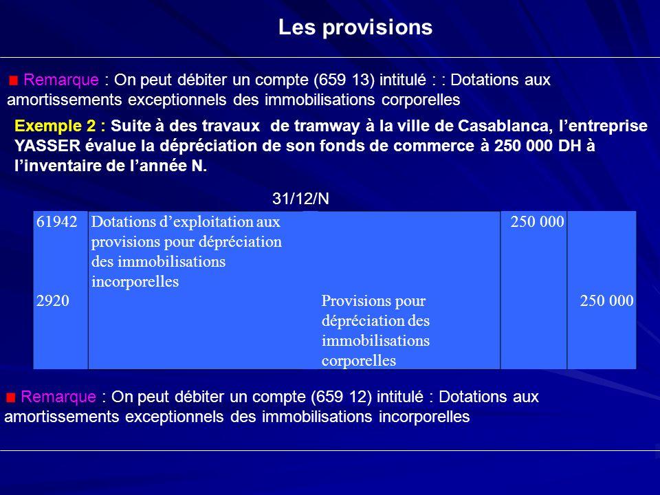Les provisions Remarque : On peut débiter un compte (659 13) intitulé : : Dotations aux amortissements exceptionnels des immobilisations corporelles.