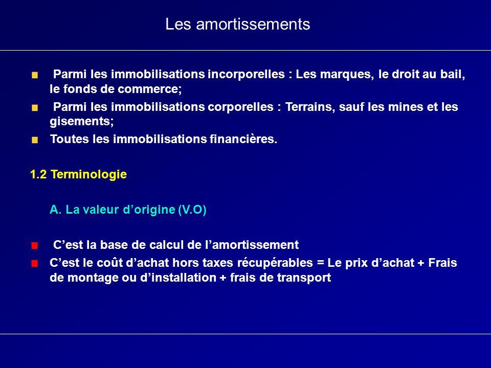 Les amortissements Parmi les immobilisations incorporelles : Les marques, le droit au bail, le fonds de commerce;