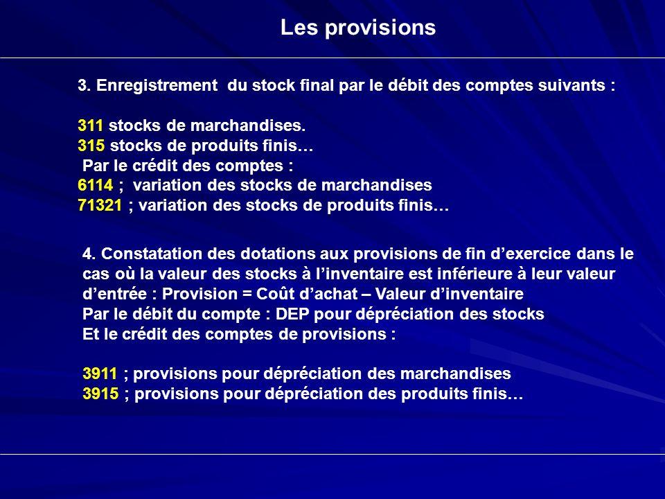 Les provisions 3. Enregistrement du stock final par le débit des comptes suivants : 311 stocks de marchandises.
