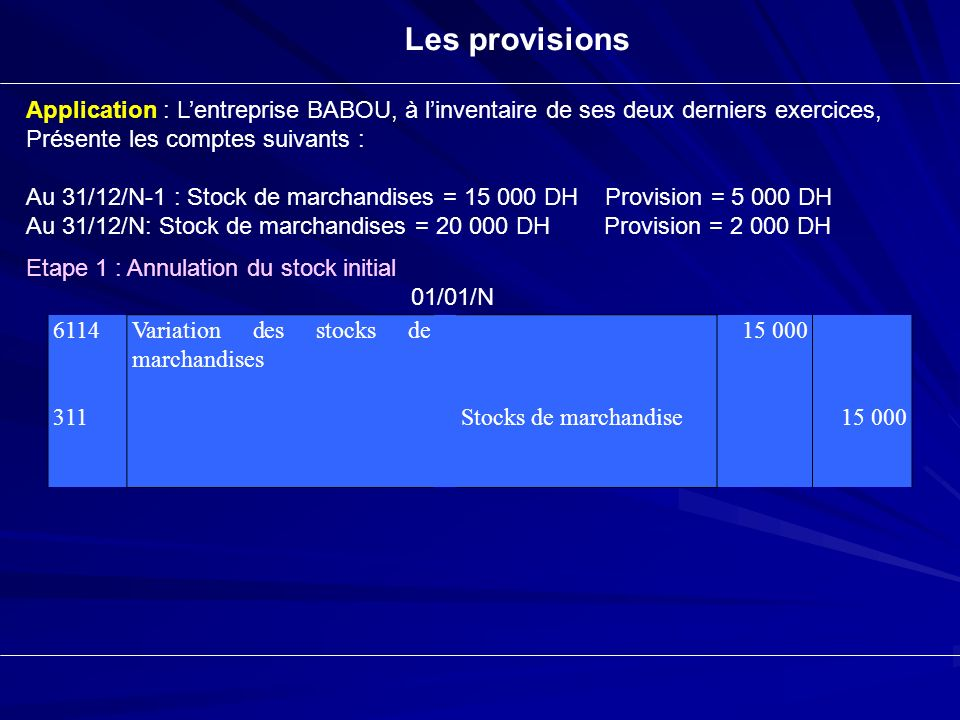 Les provisions Application : L'entreprise BABOU, à l'inventaire de ses deux derniers exercices, Présente les comptes suivants :
