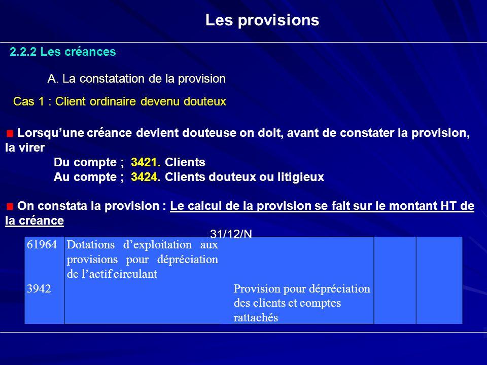 Les provisions 2.2.2 Les créances A. La constatation de la provision