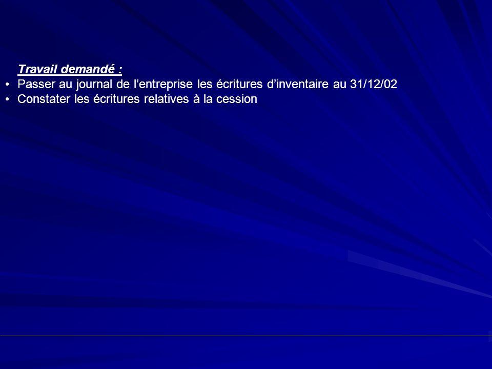 Travail demandé : Passer au journal de l'entreprise les écritures d'inventaire au 31/12/02.