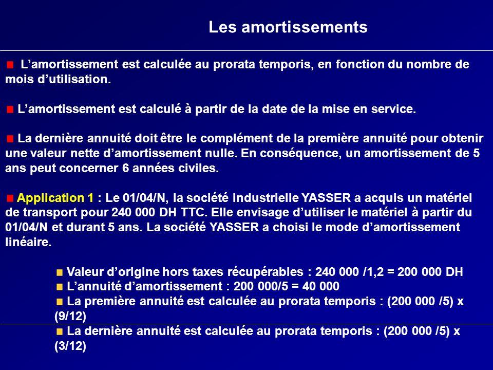 Les amortissements L'amortissement est calculée au prorata temporis, en fonction du nombre de mois d'utilisation.
