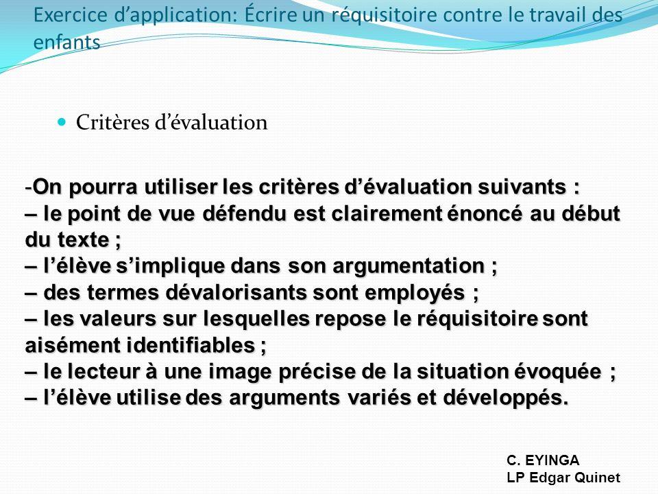 Exercice d'application: Écrire un réquisitoire contre le travail des enfants