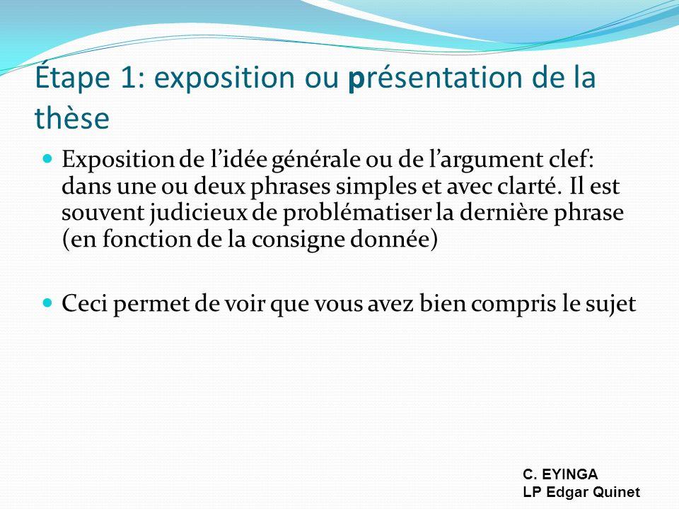 Étape 1: exposition ou présentation de la thèse