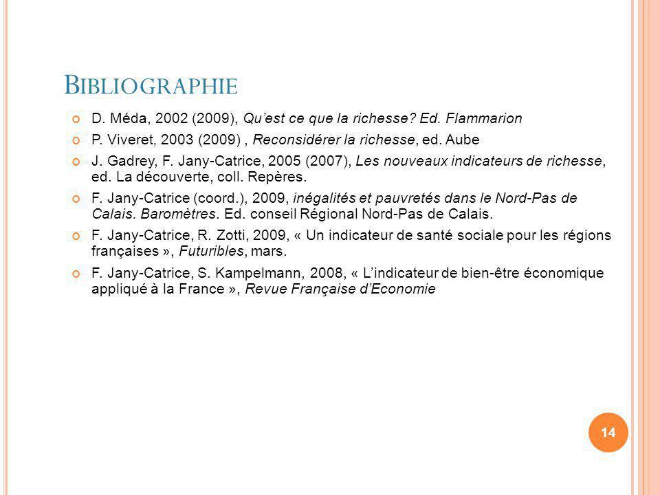 Bibliographie D. Méda, 2002 (2009), Qu'est ce que la richesse Ed. Flammarion. P. Viveret, 2003 (2009) , Reconsidérer la richesse, ed. Aube.