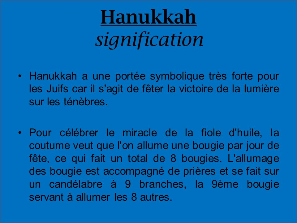 Hanukkah signification