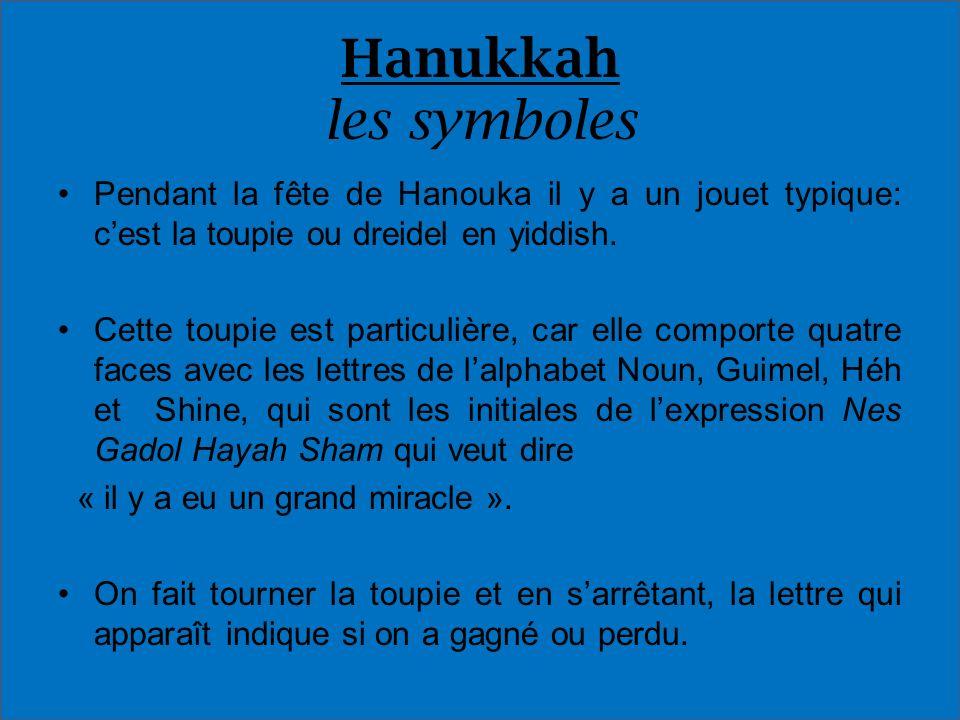 Hanukkah les symbolesPendant la fête de Hanouka il y a un jouet typique: c'est la toupie ou dreidel en yiddish.