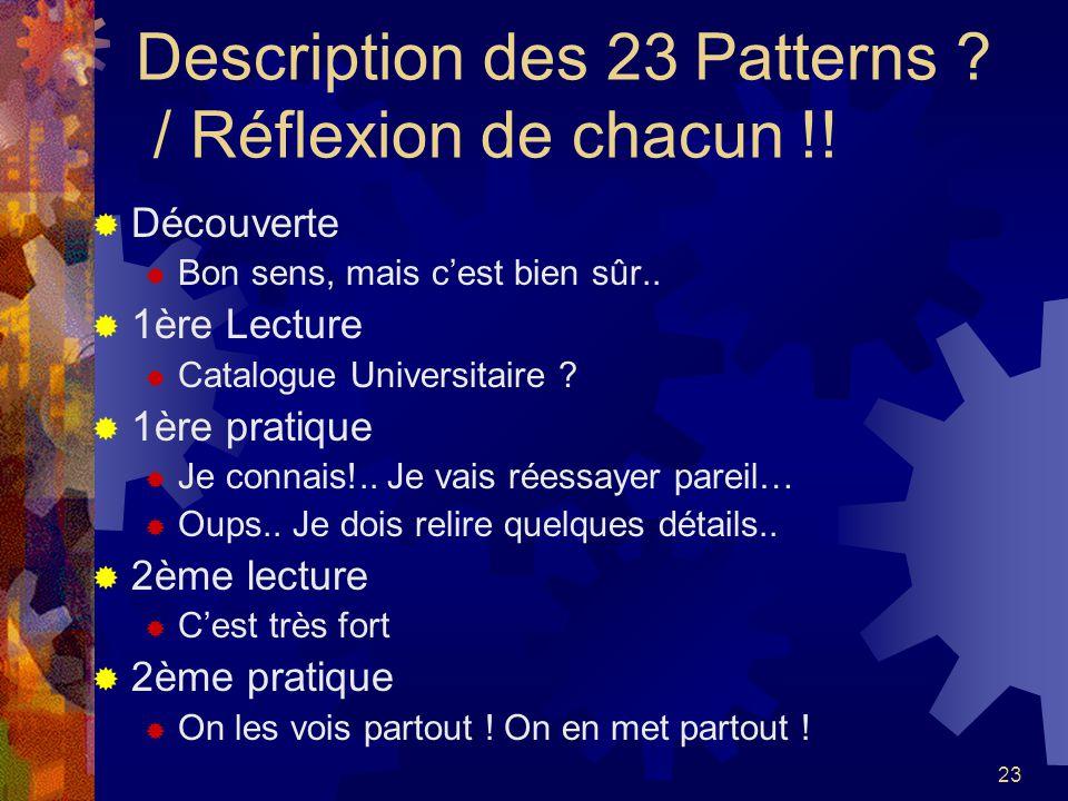 Description des 23 Patterns / Réflexion de chacun !!