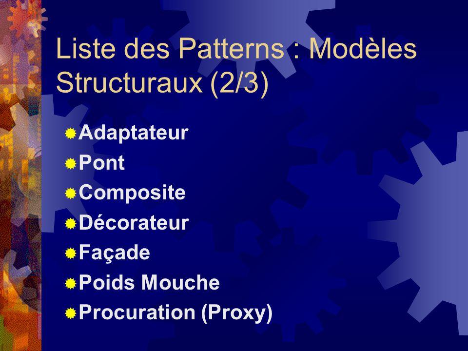 Liste des Patterns : Modèles Structuraux (2/3)