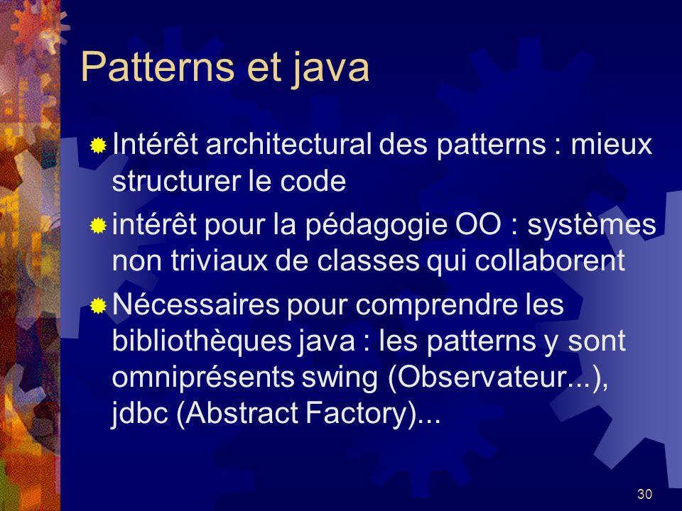 Patterns et java Intérêt architectural des patterns : mieux structurer le code.