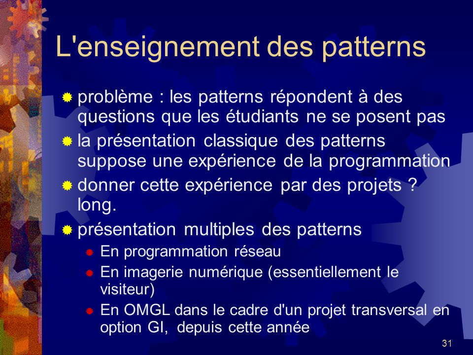 L enseignement des patterns