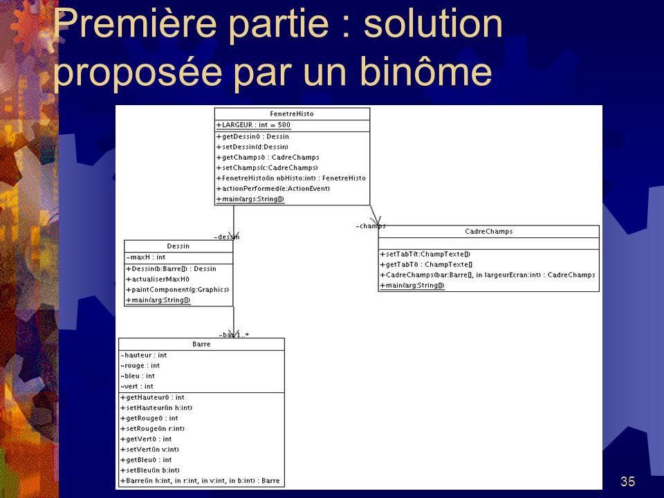 Première partie : solution proposée par un binôme