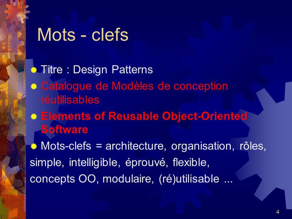 Mots - clefs Titre : Design Patterns