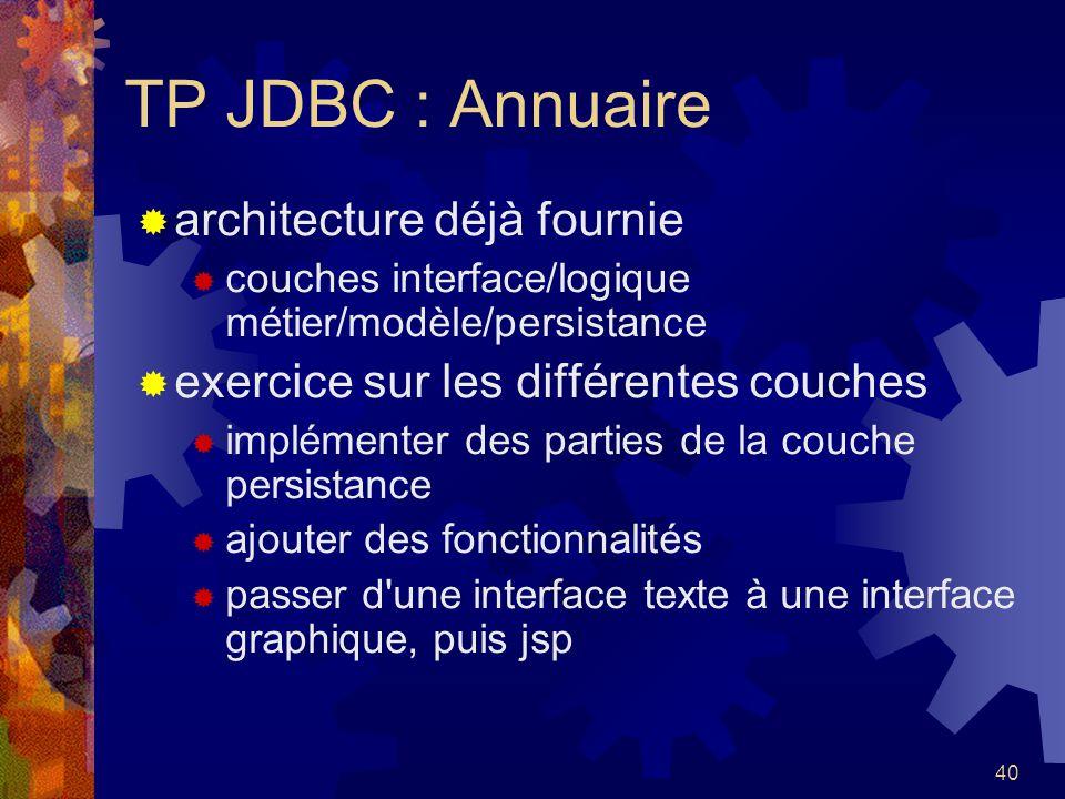 TP JDBC : Annuaire architecture déjà fournie