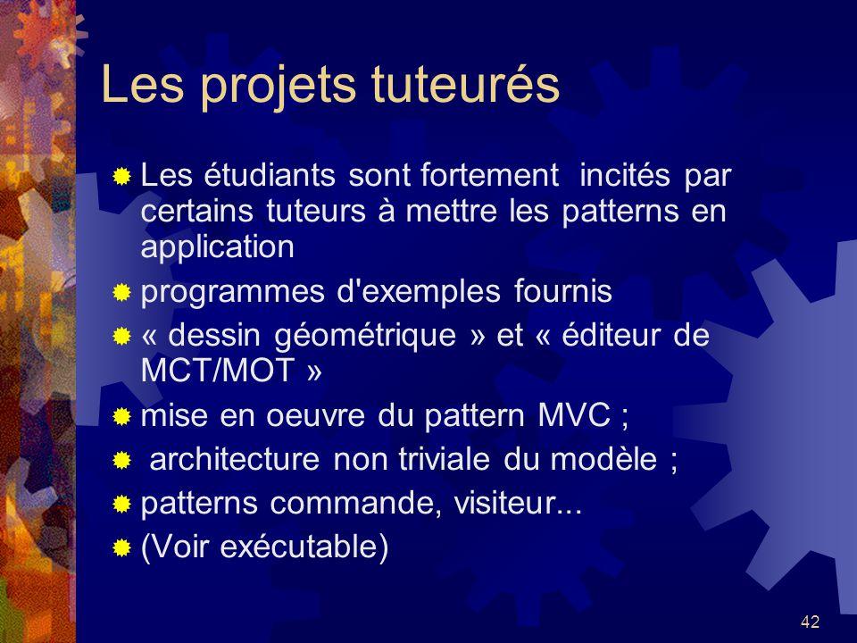 Les projets tuteurés Les étudiants sont fortement incités par certains tuteurs à mettre les patterns en application.