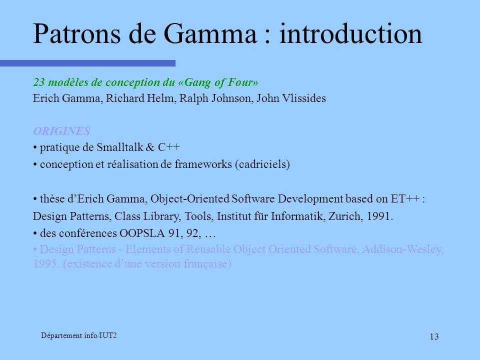Patrons de Gamma : introduction