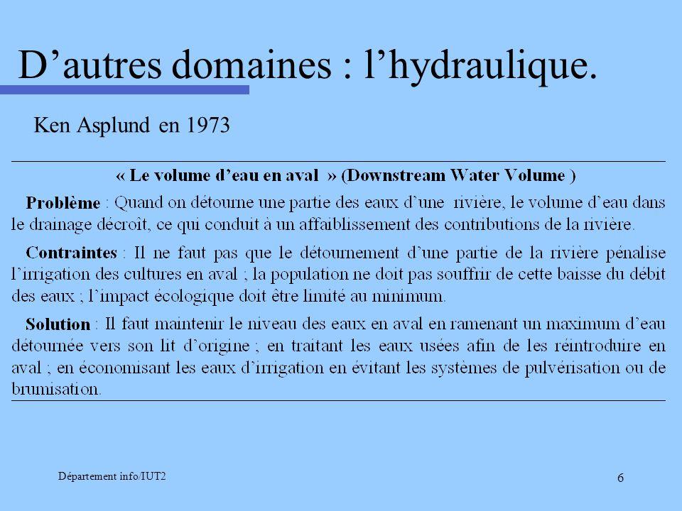 D'autres domaines : l'hydraulique.