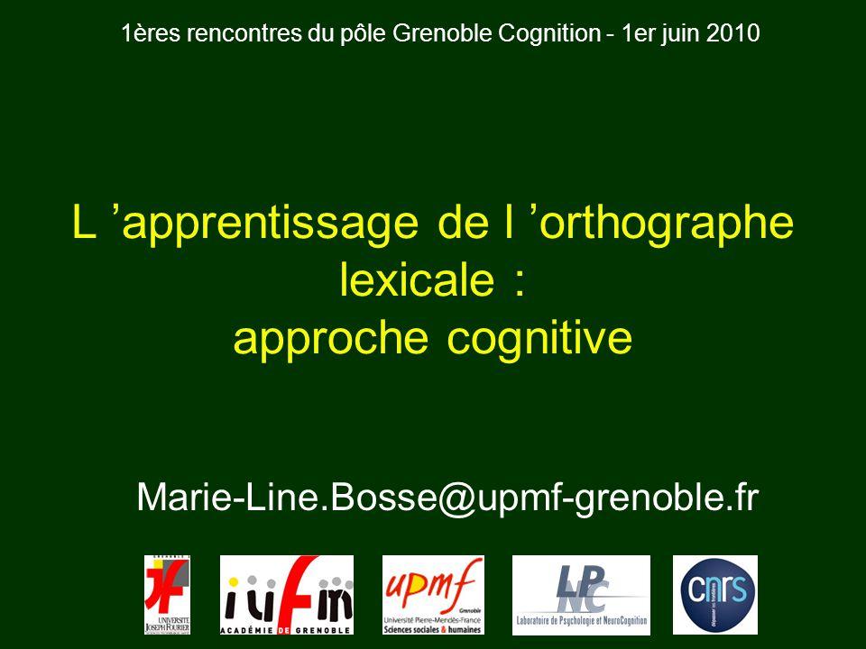 L 'apprentissage de l 'orthographe lexicale : approche cognitive