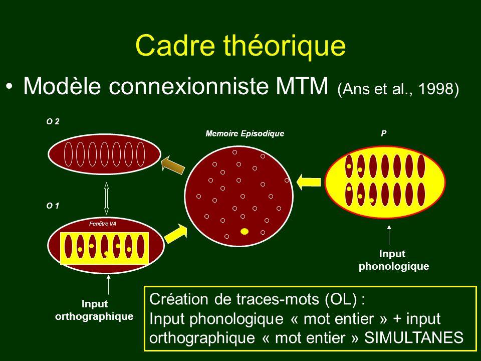 Cadre théorique Modèle connexionniste MTM (Ans et al., 1998)