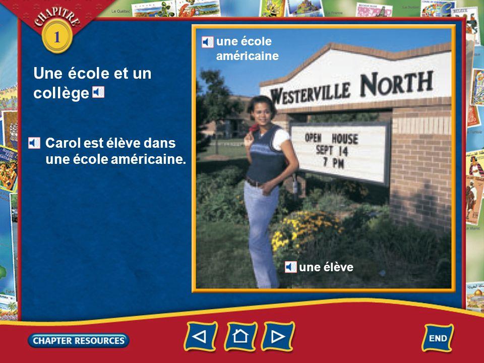 Une école et un collège Carol est élève dans une école américaine.