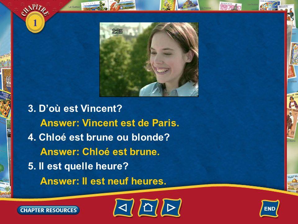 3. D'où est Vincent Answer: Vincent est de Paris. 4. Chloé est brune ou blonde Answer: Chloé est brune.