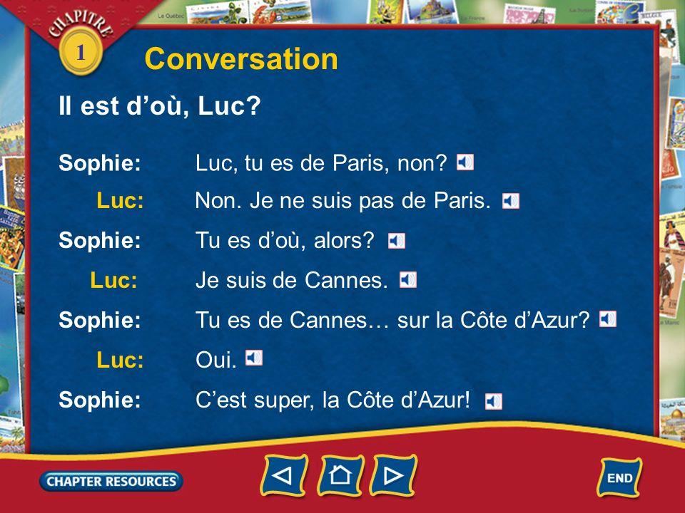Conversation Il est d'où, Luc Sophie: Luc, tu es de Paris, non